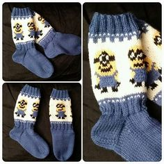 #minions #sokker #bestilling #strikktilbarn #strikking #strikkesida #håndarbeid #knitting #knittingroom #knittingforkids #handmade #madebyme Minion Baby, Knitting Accessories, Knitting Socks, Crotchet, Mittens, Diy And Crafts, Children, Pattern, Projects