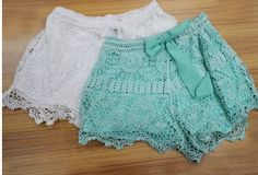 Womens New Sexy Elastic Openwork Celeb Lace Crochet Bow Shorts Mira Hot Pants (S, White) Crochet Shorts, Cute Crochet, Crochet Lace, Bermudas Fashion, Fashion Shorts, Bow Shorts, Short Shorts, Pants For Women, Clothes For Women