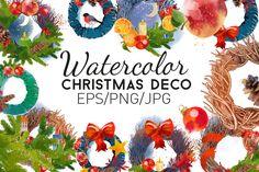 Watercolor christmas deco by Tatiana_davidova on @creativemarket