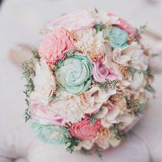 Romantic Wedding Bouquet -Pink and Mint Collection, Medium Keepsake Alternative Bouquet, Sola Bouquet, Rustic Wedding