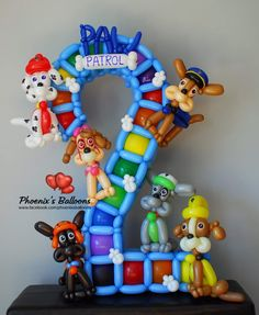 Happy birthday to a Paw patrol fan. Happy 2nd Birthday, 2nd Birthday Parties, Birthday Balloons, Ballon Decorations, Balloon Centerpieces, Paw Patrol Party, Paw Patrol Birthday, Number Balloons, Letter Balloons