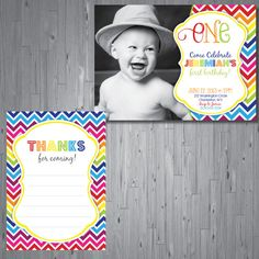 Rainbow Chevron Birthday Invitation first by AbbyReeseDesign