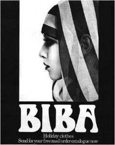 Biba mail order catalogue.  Hulanicka was inspired by Hollywood, art nouveau, art deco and Theda Bara