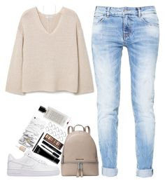 """Warm enough."" by whisperofregret ❤ liked on Polyvore featuring Zara, MANGO, NIKE, MICHAEL Michael Kors, Bobbi Brown Cosmetics, Urban Decay, ASOS, Luv Aj, Agonist and Essie"