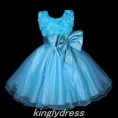 NEW Flower Girl Pageant Wedding Bridesmaid Party Princess Dress Blue SZ6 Z101E