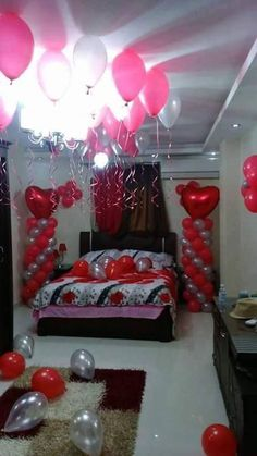 Romantic Bedroom Ideas – Thinking of redesigning a bedroom or setting up the n. Romantic Bedroom Ideas – Thinking of redesigning a bedroom or setting up the new one, one would t Romantic Room Decoration, Romantic Bedroom Decor, Bedroom Ideas, Valentine Decorations, Balloon Decorations, Birthday Decorations, Romantic Room Surprise, Romantic Birthday, Romantic Hotel Rooms