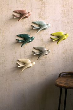 Kalalou Ceramic Swallows - Ensemble de 6
