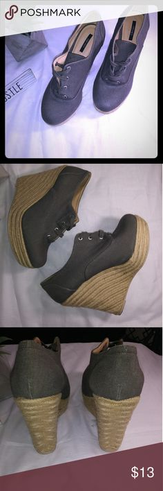 olive green  wedge shoe Forever 21 olive green wedges size 9 very good condition feel free to make an offer. Forever 21 Shoes Wedges