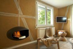 Modern Fireplace at La Maison Freiburg, Black Forest, Germany Familienfreundliche Hotels, Boutique Design, Black Forest, Black House, Architecture Design, Interior Design, Modern Fireplaces, Holland, Germany