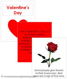 Valentine's Day Cards & Book - 6 Teaching cards and small 6-page booklet for students.
