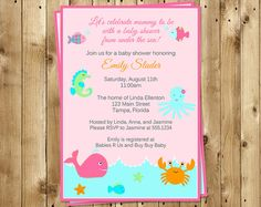 Under the Sea Baby Shower Invitations, Baby Girl, Pink, Ocean, Whale, Crab, Fish, Nautical, Set of 10 Printed Cards, SEABP, Sea Buddies Pink