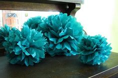 "15pcs - 4"" 8"" 12"" Mixed 3-sizes Teal Green Tissue Paper Pom-poms Pompom Flower Wedding Party Home Indoor Outdoor Hanging"