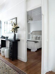 Chic Modernized Interior through Complete Renovation : Chic Modern Bedroom Design Wooden Headboard Queenslander Renovation