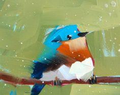 Bluebird no. 57 original bird oil painting from by prattcreekart