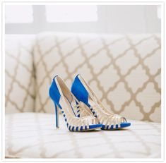 bright blue and gold wedding shoes