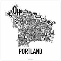 MAP of Portland -- Managed to say the name of Portland's neighborhood ~ created by Jenny Beorkrem