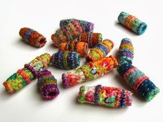 Quilted Beads inspired by Indian Kantha and Japanese Boro. By Victoria Gertenbach