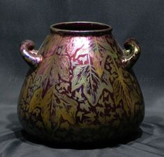 Weller Pottery: Sicardo, by Jacques Sicard. Two-handed, bulbous form vase. c.1903-05
