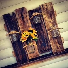Pallet and Mason Jars Wall Vases - 125 Awesome DIY Pallet Furniture Ideas | 101 Pallet Ideas - Part 5