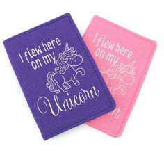 Pink OR Purple Unicorn Embroidered Passport Cover, Kids Passport Cover, Girls Passport Holder, Passport Wallet, Passport Case