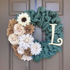 A personalized burlap wreath made with Turquoise Burlap and burlap flowers! Add a few easter piks in neutral. Burlap Projects, Burlap Crafts, Diy And Crafts, Diy Wreath, Wreath Ideas, Wreath Burlap, Initial Wreath, Burlap Bows, Burlap Flowers