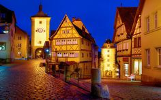 Rothenburg Ob Der Tauber Night Desktop Hd Wallpaper