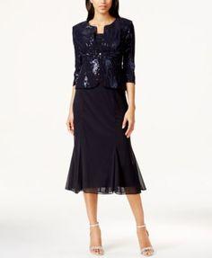 Alwww.gardennearthegreen.com ex Evenings Sleeveless Sequin Midi Dress and Jacket