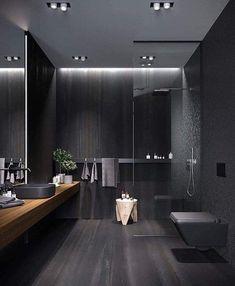Modern Luxury Bathroom, Bathroom Design Luxury, Luxurious Bathrooms, Dark Bathrooms, Small Dark Bathroom, Black Interior Design, Bathroom Styling, Bathroom Inspiration, Bathroom Ideas