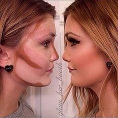 i just don't think my skin could handle all that make-up :-/ Face Contouring, Contour Makeup, Contouring And Highlighting, Skin Makeup, Contour Kit, Love Makeup, Makeup Tips, Beauty Makeup, Makeup Looks