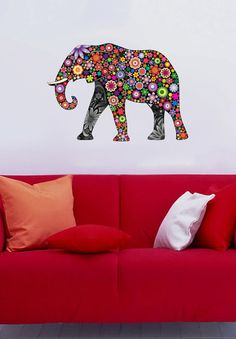 Colorful Elephant 4 Color Animals multicolor  Vinyl by uBerDecals