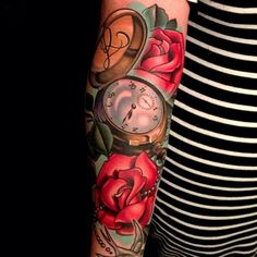 Pocket Watch & Roses Tattoo by Timmy B.  The talent this guy has... and such a cool dude.