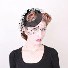 1950s Fascinator / VINTAGE / 50s Hat / Black Satin / Birdcage Veil / Pom Poms / Velvet Bows