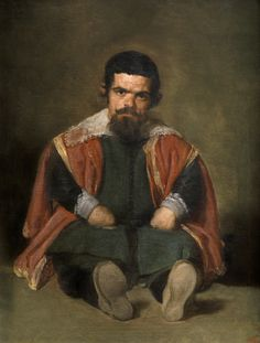 El bufón el Primo (The Portrait of Sebastián de Morra) (1645), Diego Velázquez. Spanish oil on canvas. Museo Nacional del Prado, Madrid, P01202.  A court dwarf and jester at the court of Philip IV of Spain.