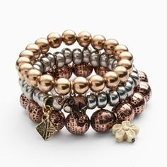 Mudd® Tri-Tone Bead & Charm Stretch Bracelet Set $10.40