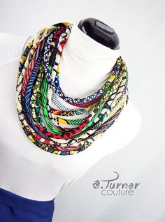 Colorful African Jewelry Fabric Rope Necklace - African Jewelry Set - African Print Necklace - blue, red, yellow & black - Nigerian Jewelry