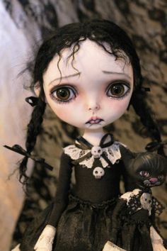 ooak art doll monster girl Wednesday 11.5'' by A. Gibbons Lil' Poe fairy tale