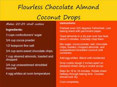 how to make chocolate almond cocnut drops without flour Flourless Chocolate, Toasted Almonds, Confectioners Sugar, How To Make Chocolate, Baking Sheet, Blog, Roasted Almonds