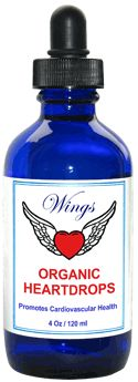Wings Heart Drops, 2 oz  Wings Organic Heart Formula is a natural, organic herbal concentrate that was created to promote heart health.  Heart disease and circulation issues have been treated throughout the ages with the same herbal compounds contained in Wings Heart Formula.