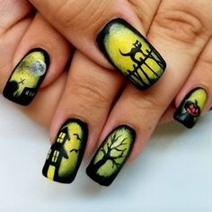 Love these cute Halloween Nails! Love these cute Halloween Nails! Source by aprillogea Holloween Nails, Cute Halloween Nails, Halloween Nail Designs, Halloween Coffin, Creepy Halloween, Women Halloween, Fancy Nails, Cute Nails, Pretty Nails