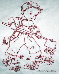 Mommy's Apron Strings: Vintage Redwork Children Done!