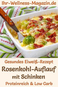 Brussels sprouts casserole with ham: Hearty low-carb recipe for a healthy, prote. - Brussels sprouts casserole with ham: Hearty low-carb recipe for a healthy, protein-rich, low-calori - Healthy Chicken Recipes, Meat Recipes, Low Carb Recipes, Quick Recipes, Low Calorie Casserole, Casserole Recipes, Law Carb, Protein Foods, Healthy Protein