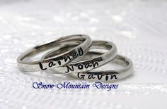 Stacking Ring, Personalized Stackable Ring, Custom Name Ring, Hand Stamped Ring, Initial Ring, Mother Ring, Curved Ring by SnowMountainDesigns on Etsy https://www.etsy.com/listing/107545348/stacking-ring-personalized-stackable  Maegan Owen Mollie
