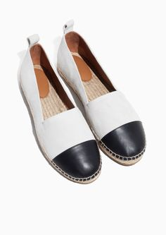 & Other Stories Leather And Suede Espadrilles in White/Black $95