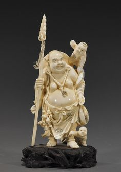 CHINESE IVORY CARVING   418: Chinese Beijing Carved Ivory Budai : Lot 418