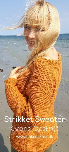 Graytis strikkeopskrift på strikket sweater /strikket trøje / strikket pullover. Nem strikkeopskrift med udførlig vejledning. #strikketsweater #striksweater #striktilkvinder #gratisstrikkeopskrifter #nemmestrikkeopskrifter #strik Knitwear, Crochet Hats, Turtle Neck, Sweaters, Cardigans, Pullover, Knitting, Pattern, Knits