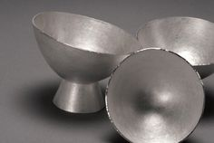 3 silver bowls by silversmith Louise Loder