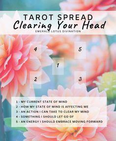 Clearing Your Head Tarot Spread — Emerald Lotus Divination Chakras, Tarot Card Spreads, Tarot Astrology, Free Tarot, Oracle Tarot, Tarot Card Meanings, Tarot Decks, Card Reading, Witchcraft