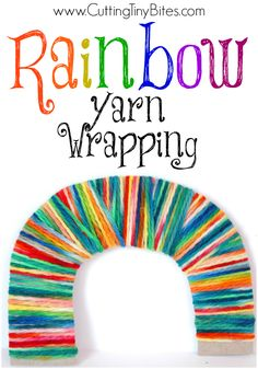 Rainbow Yarn Wrapping.  Bright, colorful fine motor craft for kids.  Great for preschoolers or elementary aged children.  Perfect for St. Patricks Day!