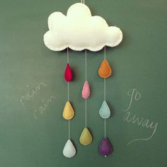 Medium rainbow rain cloud for nursery, children's room or playroom on Etsy, $40.00