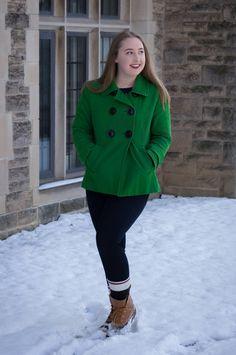 SPRING GREEN PEACOAT // Green Peacoat // Dark Skinny Jeans // Camp Socks // Bean Boots   On Pearls and Polkadots...